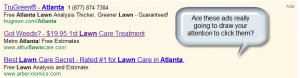 sample ads being used when user types atlanta lawn service
